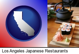 sushi and green tea being served at a Japanese restaurant in Los Angeles, CA