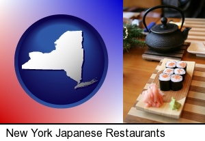 New York, New York - sushi and green tea being served at a Japanese restaurant