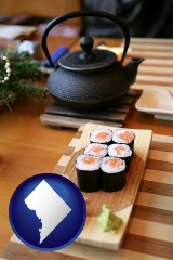 washington-dc map icon and sushi and green tea being served at a Japanese restaurant