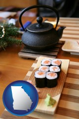 georgia map icon and sushi and green tea being served at a Japanese restaurant