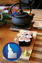 idaho map icon and sushi and green tea being served at a Japanese restaurant