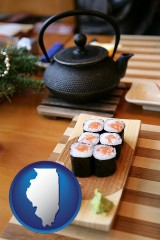 illinois map icon and sushi and green tea being served at a Japanese restaurant