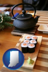 indiana map icon and sushi and green tea being served at a Japanese restaurant