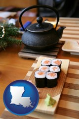 louisiana map icon and sushi and green tea being served at a Japanese restaurant