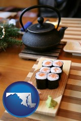 maryland map icon and sushi and green tea being served at a Japanese restaurant