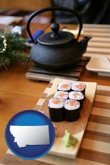 montana map icon and sushi and green tea being served at a Japanese restaurant