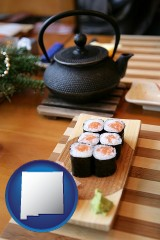 new-mexico map icon and sushi and green tea being served at a Japanese restaurant