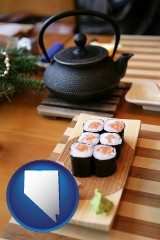 nevada map icon and sushi and green tea being served at a Japanese restaurant