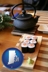 rhode-island map icon and sushi and green tea being served at a Japanese restaurant