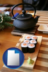 utah map icon and sushi and green tea being served at a Japanese restaurant