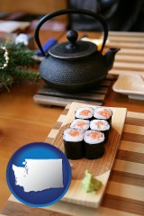 washington map icon and sushi and green tea being served at a Japanese restaurant