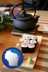 wisconsin map icon and sushi and green tea being served at a Japanese restaurant